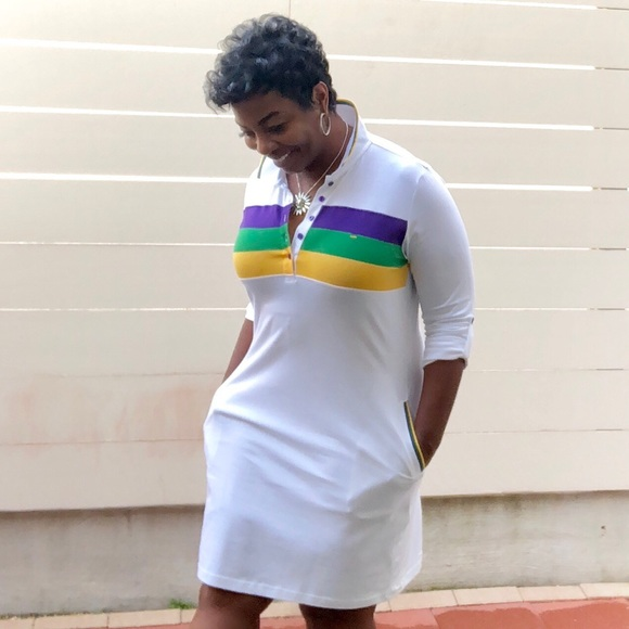 Mardi Gras Three Woven Striped Rugby Dress Boutique